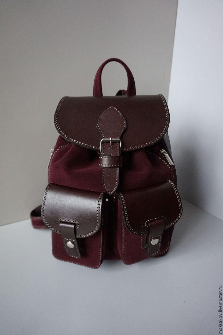 Купить Бордовый рюкзачок из натурального велюра - бордовый, однотонный, рюкзак, маленький рюкзак, женский рюкзак