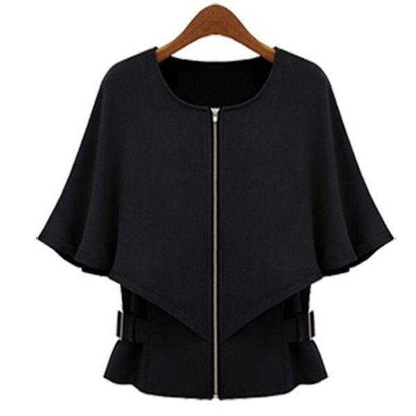 Black Ostart Women's Cape Loose Autumn Winter Jacket