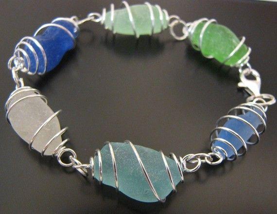 Sea Glass Jewelry, Rare Ocean Blues Genuine Sea Glass Bracelet, Jewellery on Etsy, $57.00                                                                                                                                                                                 More