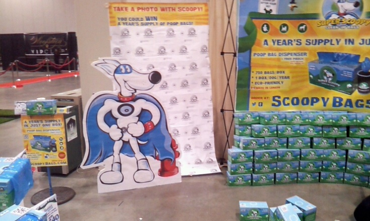 our booth at woofstock - check out the big scoopy!