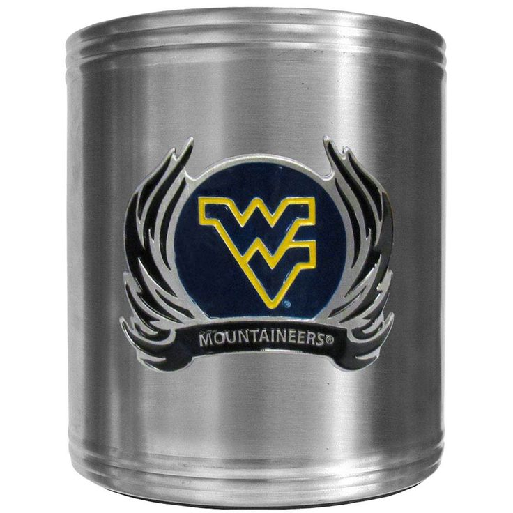 """Checkout our #LicensedGear products FREE SHIPPING + 10% OFF Coupon Code """"Official"""" W. Virginia Mountaineers Steel Can Cooler Flame Emblem - Officially licensed College product Stainless steel cooler Insulated to keep drinks cool Perfect for game day or any day Makes a great gift for any W. Virginia Mountaineers fan - Price: $22.00. Buy now at https://officiallylicensedgear.com/w-virginia-mountaineers-steel-can-cooler-flame-emblem-ccs60f"""