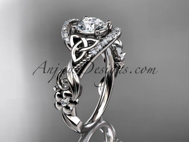 platinum diamond celtic trinity knot wedding ring engagement ring with a forever one moissanite center stone ct7211 - Pagan Wedding Rings