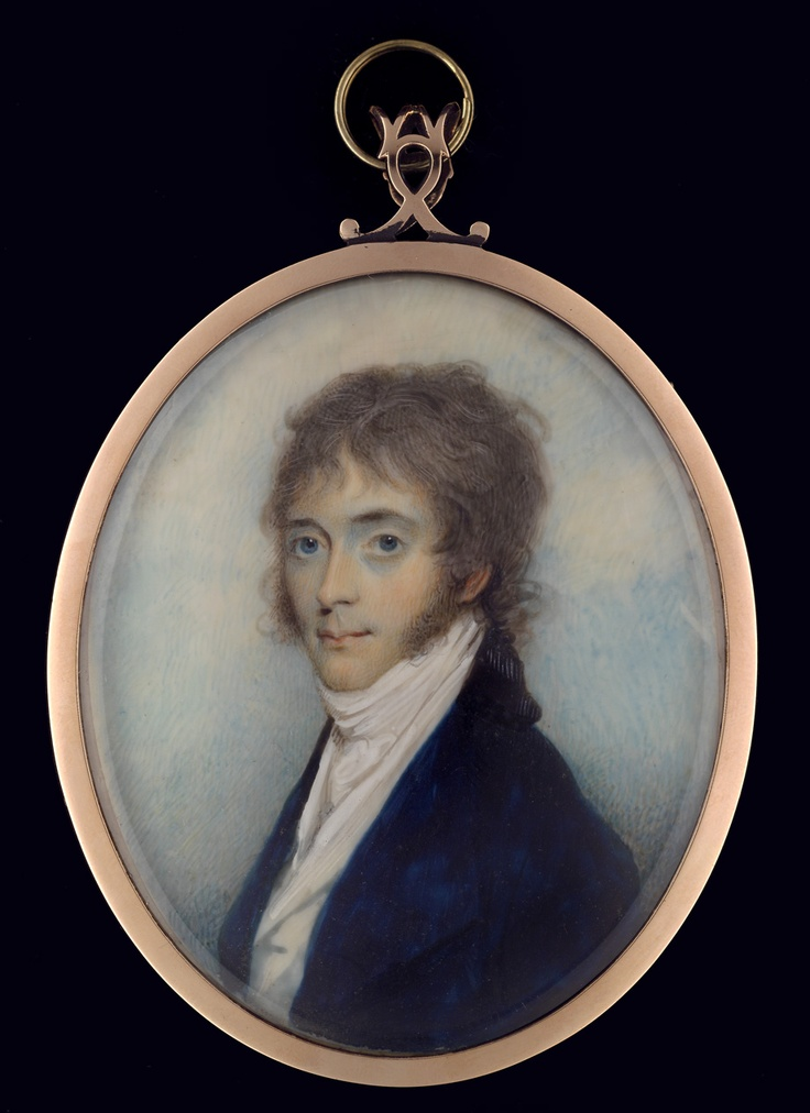 """Charles Robertson (1760-1821) - Portrait of an Unknown Gentleman. Watercolour on Ivory in a Gold Frame. 2-7/8"""" (7.4cm)."""