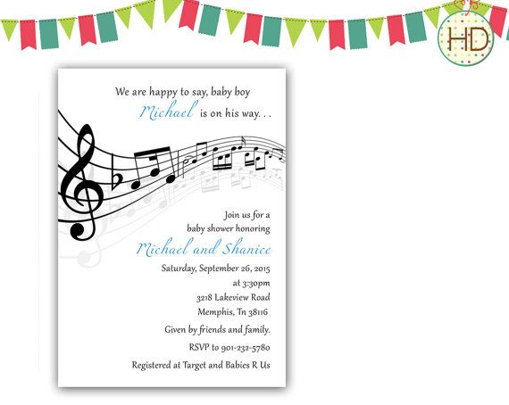Music Baby Shower Music Notes Baby Shower by HDInvitations on Etsy