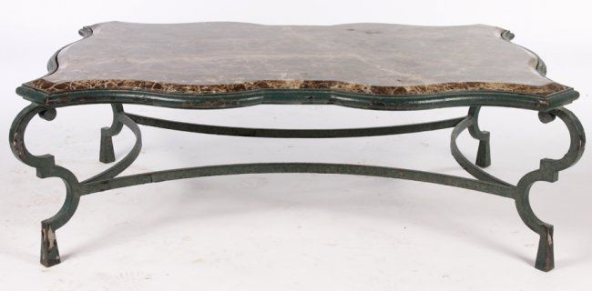 Wrought Iron Coffee Table   LARGE WROUGHT IRON COFFEE TABLE MARBLE TOP : Lot 600