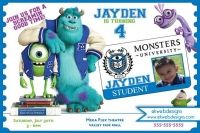 Monsters University Birthday Invitations