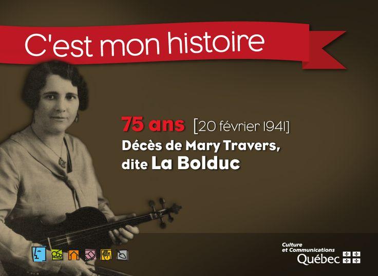 Mary Travers, première chansonnière de l'histoire du Québec, mieux connue sous le nom de La Bolduc, est désignée comme personnage historique. #RPCQ #PatrimoineQc