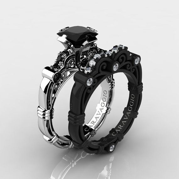 Caravaggio 14K Black and White Gold 1.25 Ct Princess Black and White Diamond Engagement Ring Wedding Band Set R623PS-14KWBGDBD