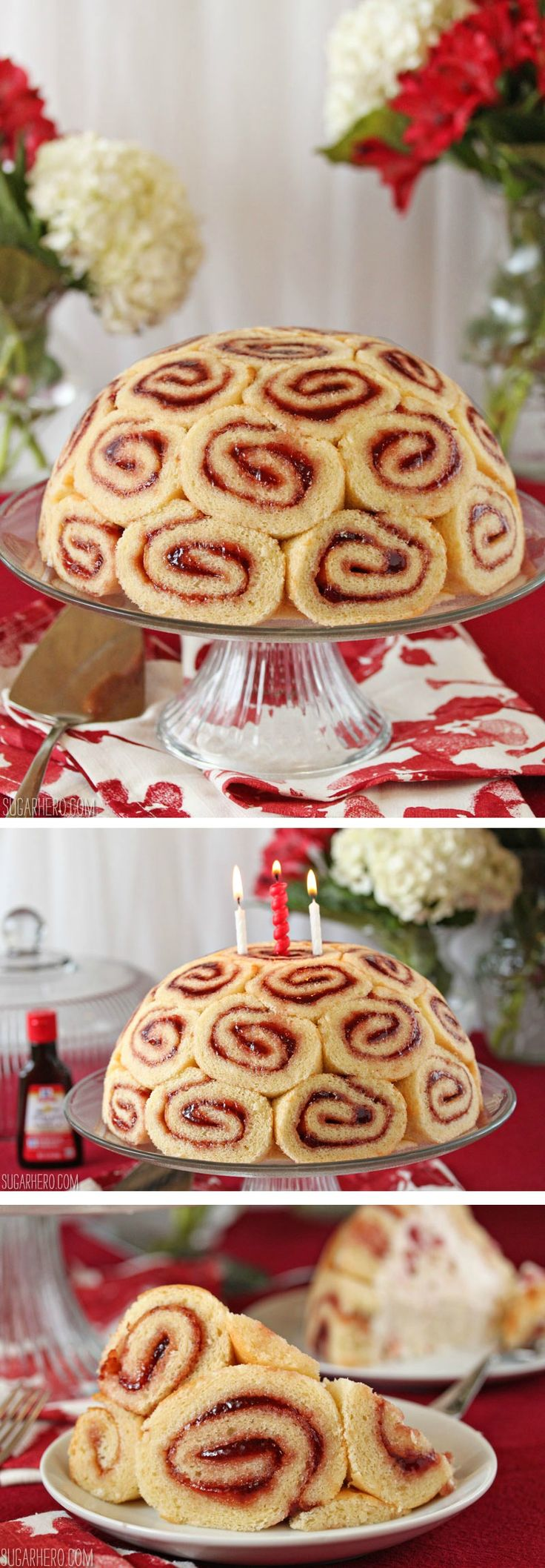 Charlotte Royale - a beautiful cake with Swiss rolls on the outside and vanilla-strawberry mousse inside! | From SugarHero.com