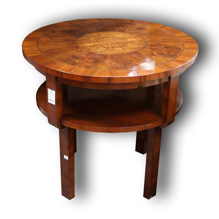 Art-Deco konfereční stolek, ořech, intarzie   Art-Deco coffe table,walnut, 30`s, 1930, Bohemia, inlay..   www.aantik.cz