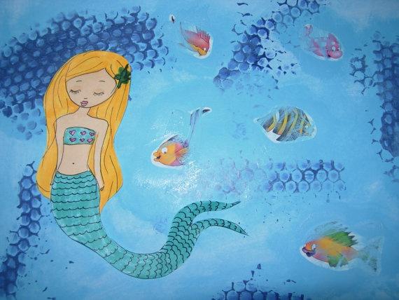 Make your Own Art / Mixed Media Mermaid Painting Art by eltsamp, $58.00