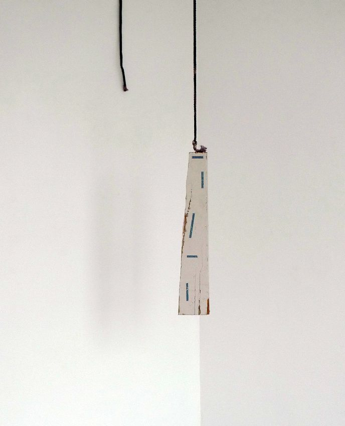 Patrick Lundberg, Untitled, 2011, found incised paint and board, gesso and rope