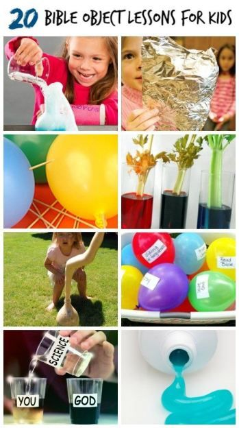 20 Bible Object Lessons for Kids- Great Activities and crafts for church, school, Sunday School or home