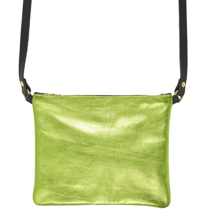 Sarah Baily | Dilly green metallic/ black messenger bag