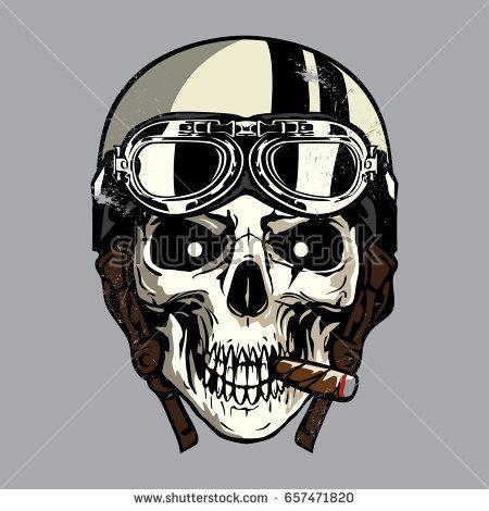 Hand drawing of skull wearing motorcycle helmet
