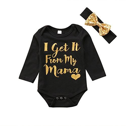18e1d0453a78 Ma Baby 2PCS Kids Baby Girls Romper Bodysuit Jumpsuit Sequins Headband Outfits  Clothes (Black