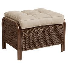 King Brown Wicker Ottoman