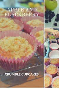 Blackberry and apple crumble cupcakes.