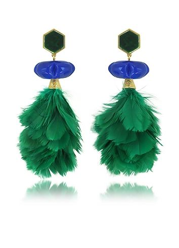 Tory+Burch+Tropical+Creature+Emerald+Green+Feather+Drop+Clip-On+Earrings