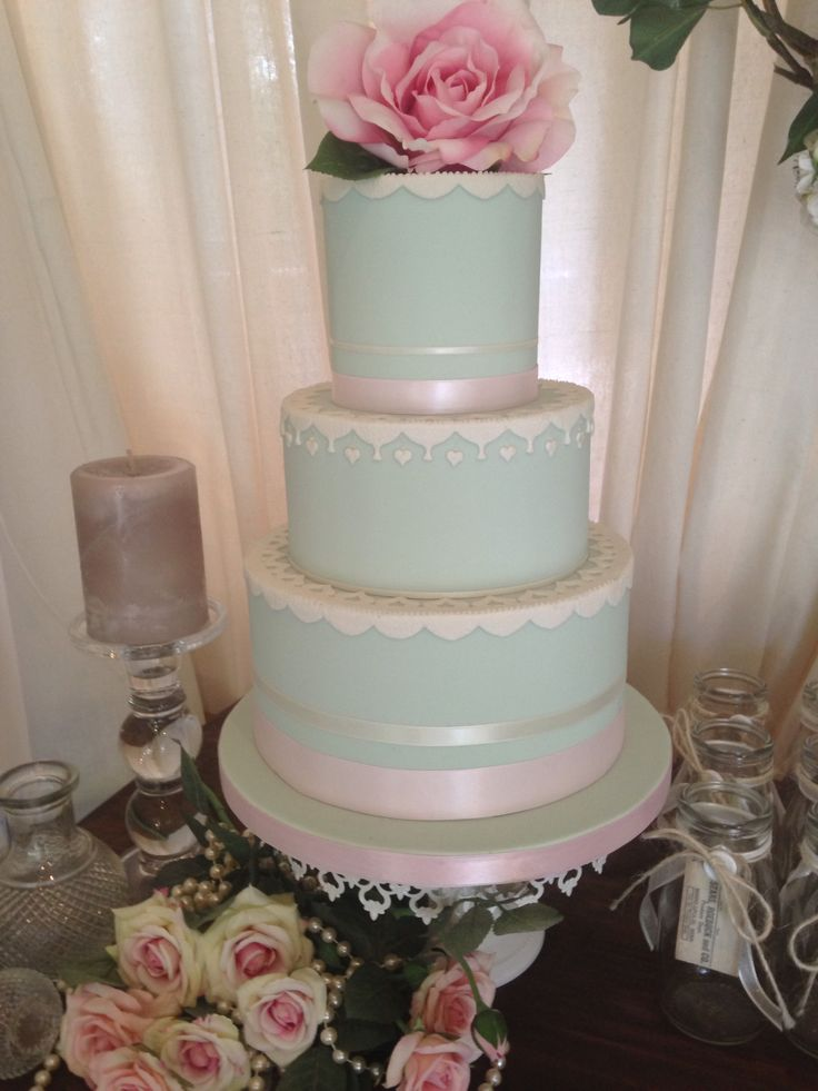 Beautiful Duck Egg Blue Coloured Wedding Cake To View Our Designs Visit Www Coastweddingcreations