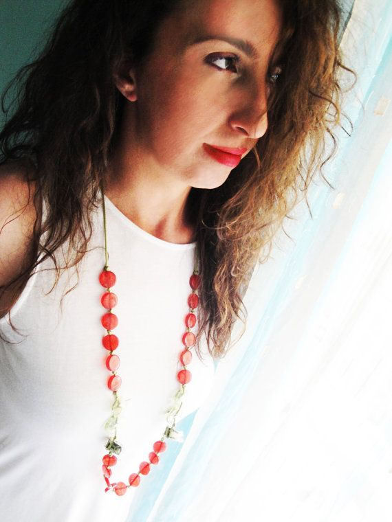 Check out this item in my Etsy shop https://www.etsy.com/listing/236711959/unique-necklace-red-necklace-red-green