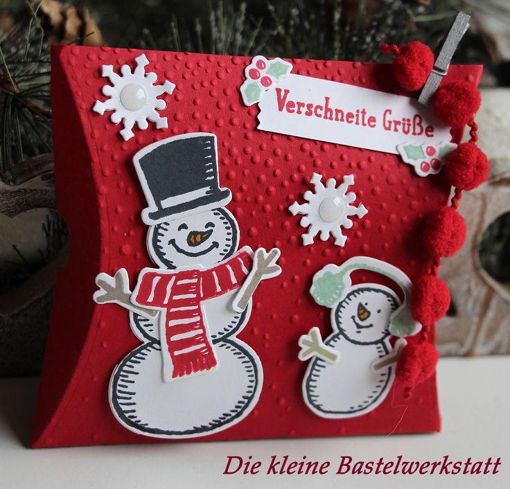 Stampin Up Weihnachten Pillow-Box Schneemänner Es schneit Keksverpackung Geschenk Geschenkverpackung Verpackung Bommelband
