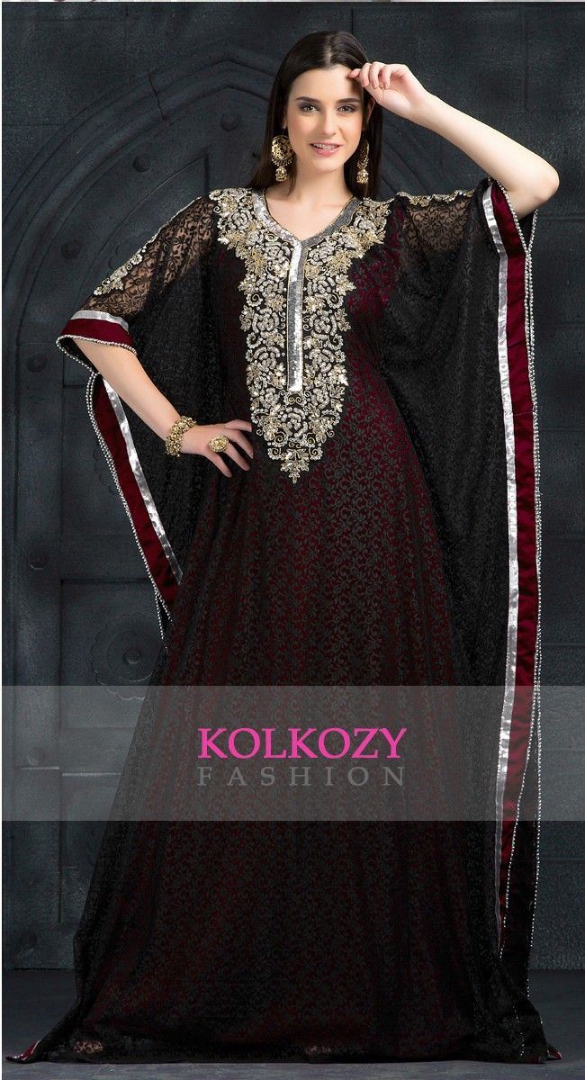 Exclusive Self printed Red and Maroon all over handwork Kaftan