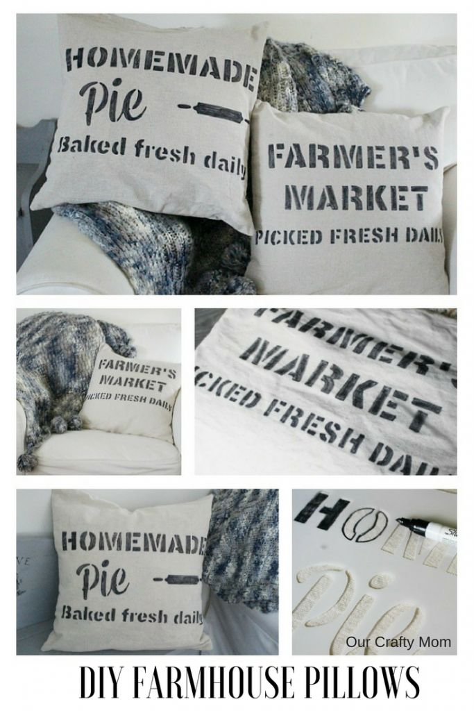 DIY Farmhouse Stenciled Pillows-Monthly Craft Destash Our Crafty Mom