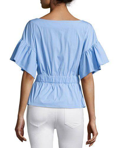 MILLY Vivian Drawstring-Waist Stretch-Poplin Top. #milly #cloth #