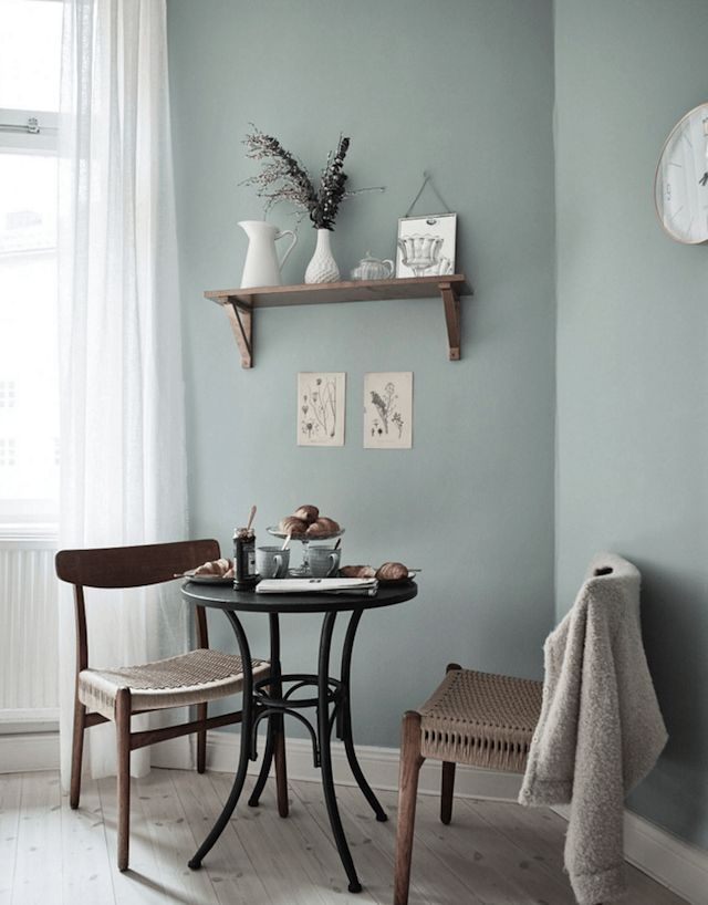 Green kitchen wall in a beautiful and practical Swedish home