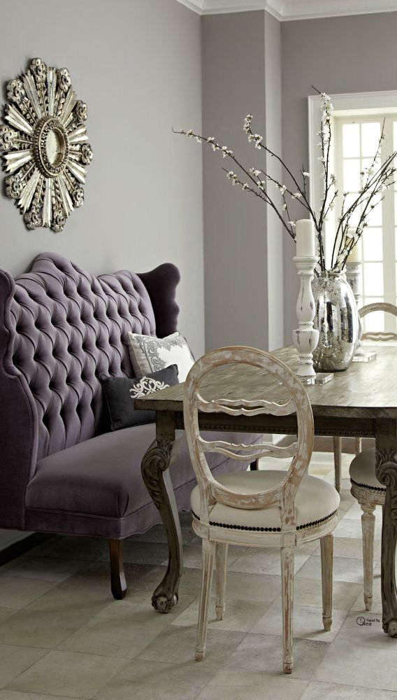 """Get the look ~ """"Purple Rein"""" loveseat in my vendor booth ~ makes a great banquet seating statement"""