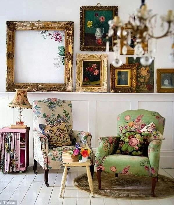 Love the green chair & the frame with just a couple of flowers in the corner...