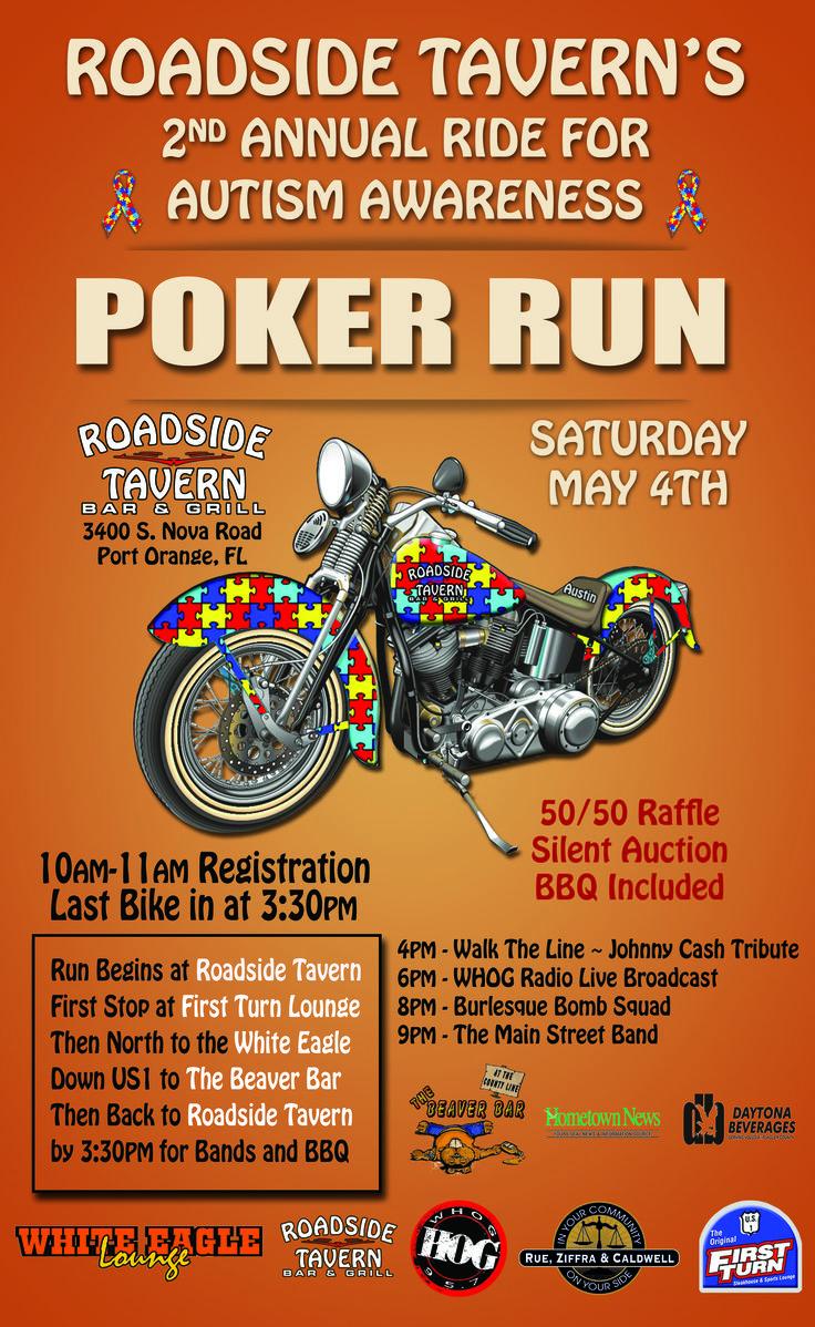 motorcycle poster autism poker run