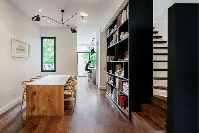 Ingenieus idee om beschikbare ruimte in smalle woning optimaal te benutten : interieurdesigner.be, smalle rijwoning met aanbouw