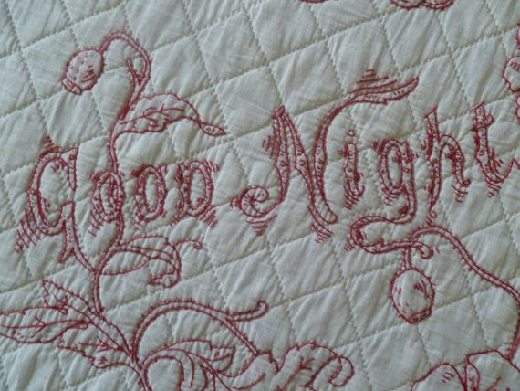Antique Redwork Good Night Wall Haging by PSQuiltingByHand on Etsy, $40.00