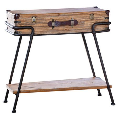 Recycled wood hall table with suitcase top.  Product: Hall tableConstruction Material: Wood and metalColo...