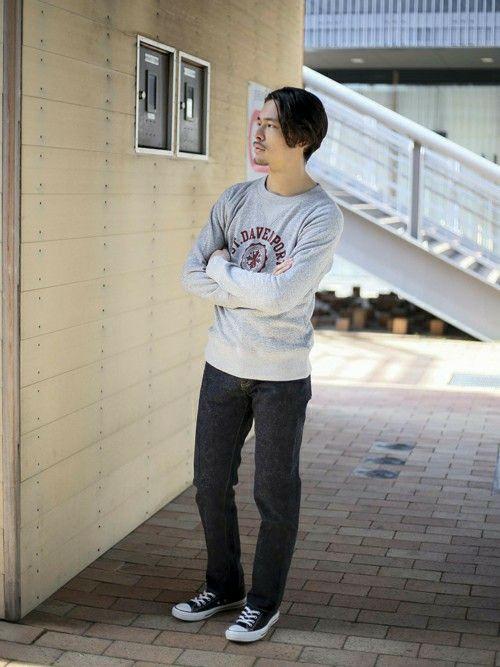 プリントクルーネックスウェット DAVENPORT・杢グレー/MEDIUM    【Made In