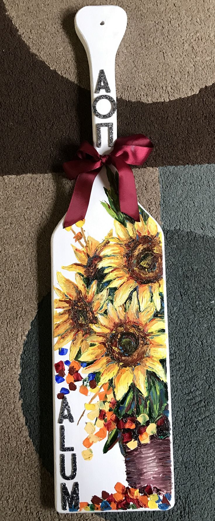 AOII Alum Paddle, Alpha Omicron Pi, sunflower paddle, sorority, AOΠ #aoii #aoπ #AOΠ #AOII #sororitypaddle #alum #sunflowers #flowerpaddle