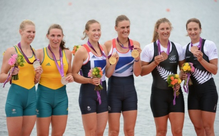 Rowing Women's Pair Helen Glover and Heather Stanning Britain's First Gold Medallists of London 2012 with Runners up Australia and New Zealand. More at   http://ozsportsreviews.com/2012/08/the-london-olympics-day-5-great-britain-win-first-gold/#