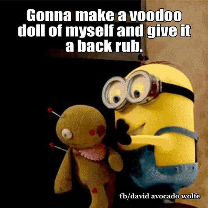 Funny Minion Making A Voodoo Doll Of Self For Backrub