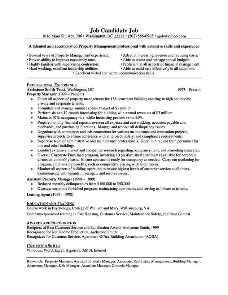 Property manager resume should be rightly written to describe your skills as a property manager. Property manager or called with estate manager can be... assistant property manager resume