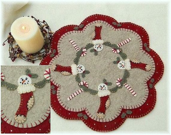 Christmas Stockings Candle Mat/Penny Rug Pattern with Wool Kit via Etsy