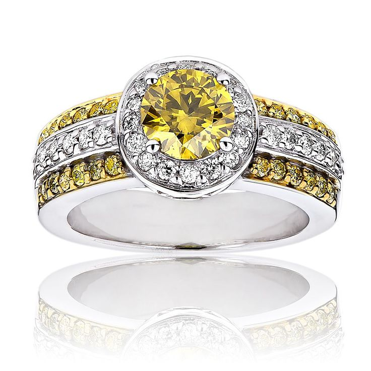 Luxurman 14k Gold 1 5/8ct TDW White and Yellow Diamond Halo Engagement Ring (G-H, SI1-SI2) (14K White Gold Size 6), Women's