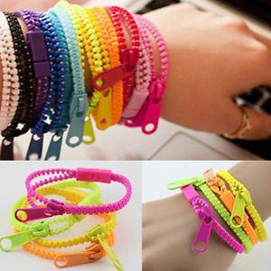 10pcs/lot New Zip Bracelet Wristband Dual & Single Color Metal Zipper Bracelet Fluorescent Neon Creative bracelet for women