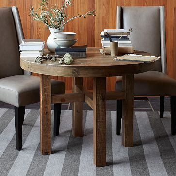 Emmerson Round Dining Table #westelm - too small, but like the shape/wood colors