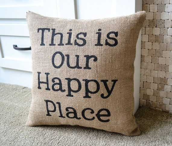 Burlap Pillow Cabin Decor Lake Home Decor by JoaniesFavoriteThing
