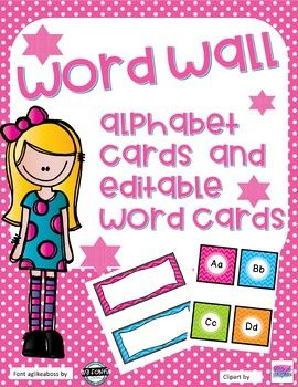 Word Wall - Bright Chevron - EditableAlphabet cards are 3x5 and word cards are 2x5Cards are in PDF and PP so you can edit font