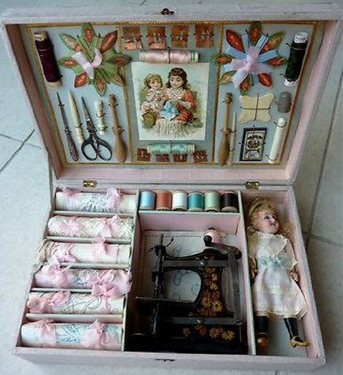 ❤ it . . . Exceptional antique box for embroidery, girl . . .