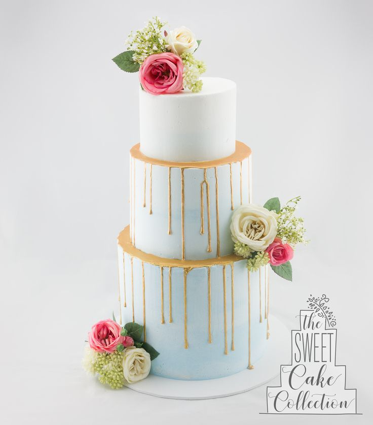 Blue Ombre Wedding Cake with Gold Drip