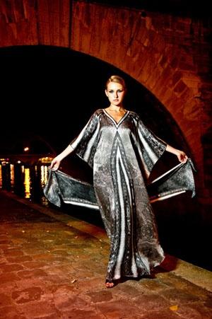 Kaftan by @Colin Heaney - Dark Moon #kaftan #print #digital #silk #luxury #resort Photographed in #Paris